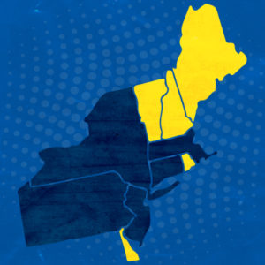 A map shows the Northeast. Each state with a DRIVEN Accelerator Hub is highlighted.